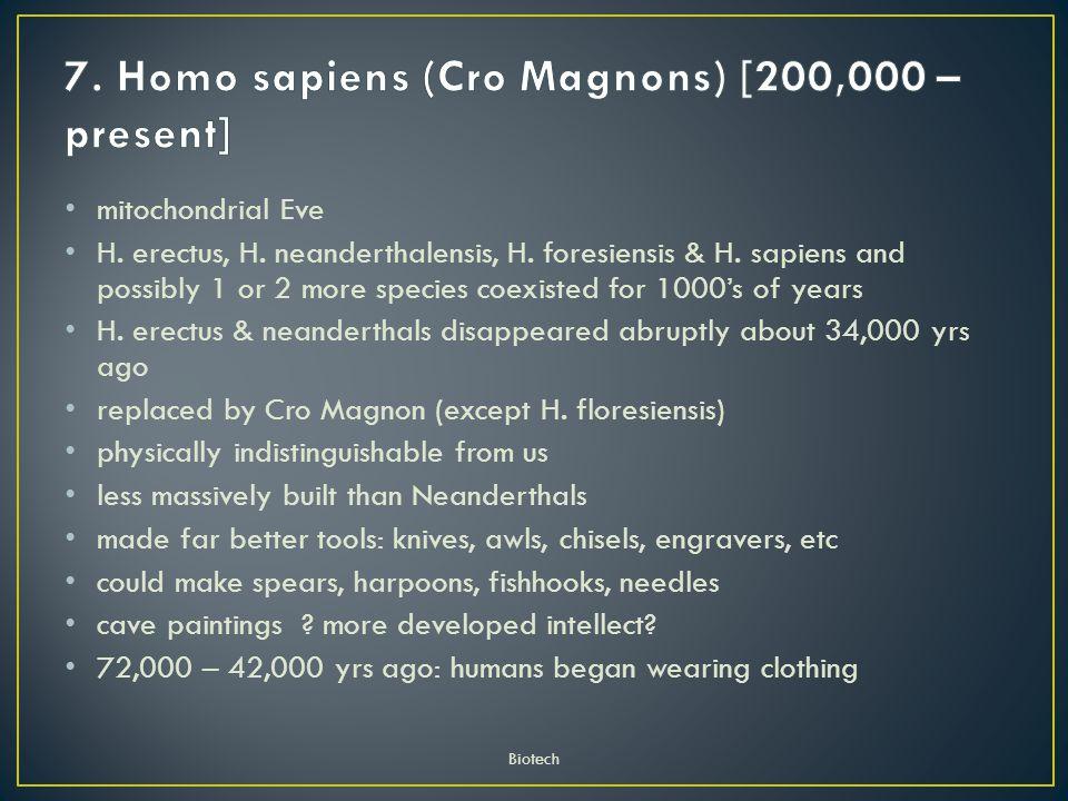 7. Homo sapiens (Cro Magnons) [200,000 – present]